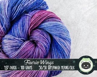 Purple and Blue Hand Dyed Yarn, Merino Silk Yarn, Variegated Fingering Yarn, Sock Yarn, hand dyed yarn, Heirloom Luxe, Purple, Faerie Wings