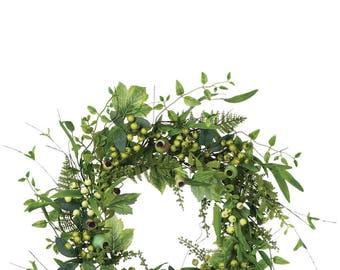 """Mixed Foliage Pod Berry Wreath 22"""""""