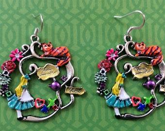 Alice in wonderland earrings. Cheshire Cat earrings. Steampunk earrings. Alice in wonderland jewelry. Large earrings. Valentine's earrings