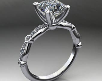 amelia ring - forever one moissanite engagement ring, cushion cut, platinum and diamond ring