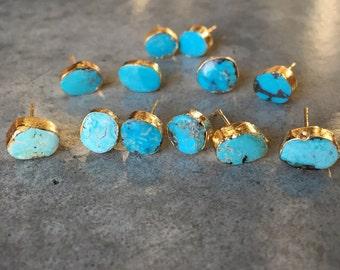 Turquoise Earrings, Turquoise Jewelry, stud earrings, December Birthday, December Birthstone, boho wedding
