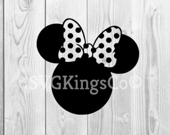 Disney's minnie mouse svg, minnie mouse head svg, minnie bow svg, minnie mouse clipart, cut files for cricut silhouette, DXF, PNG, EPS