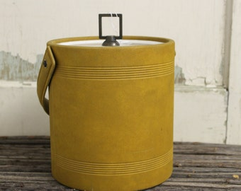 Retro Mustard color sueded ice bucket with serving tool