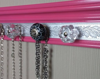 """READY TO SHIP Wall jewelry hanger in Pink, black & silver 15 """" wall rack w/ 5 knobs. beautiful hanging jewelry storage.Add hooks option"""