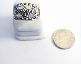 Vintage Sterling Silver Marcasite Star Design Ring, size 9