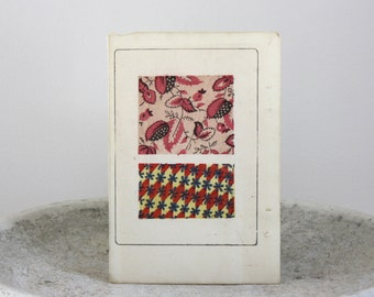 Antique Botanical Woodblock Print Textile Design Published in Japan 6 1/2 x 9 1/2 inches