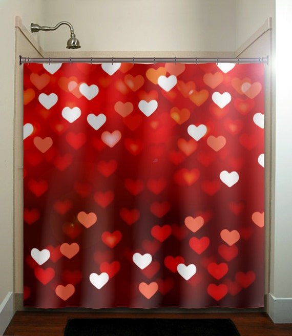 Valentines Day Romantic Love Hearts Red Shower Curtain Extra