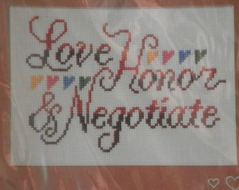 Wedding Cross Stitch Kit 'Love Honor and Negotiate' includes frame