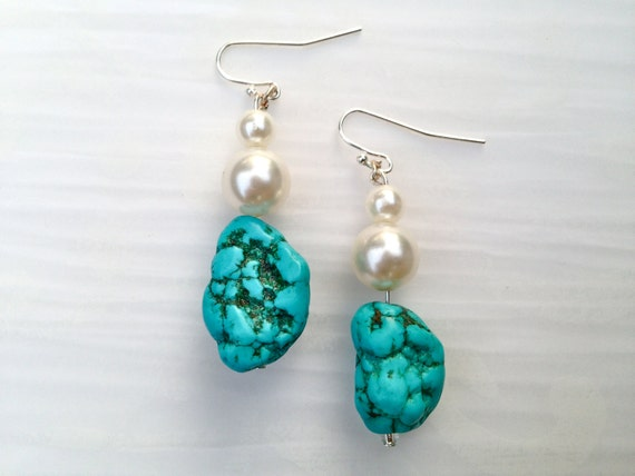 """Turquoise and Pearl Sterling Silver Dangle Earrings, """"Evelyn"""" // Bridesmaid // Gifts for Her // Stocking Stuffer // Bride"""