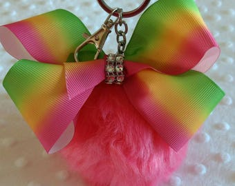 "Large 4"" Pink Pom Pom Keyring Keychain with Pink Ombre Bow like JoJo Siwa Bows Christmas Eve box gift stocking filler"