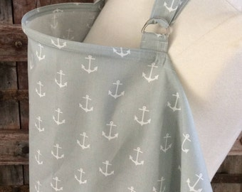 Nursing Cover-White Anchors on Gray-Free Shipping When Purchased With A Wrap
