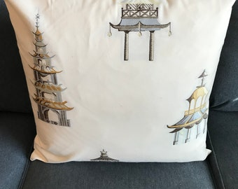 Cream pillow cover with asian pagoda embroidery and down insert