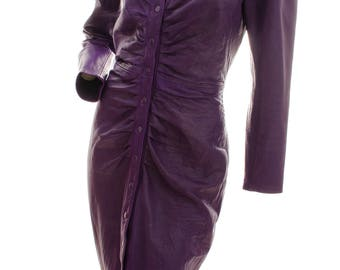 Michael Hoban North Beach Leather Dress Purple Fitted Long Sleeve Sz M