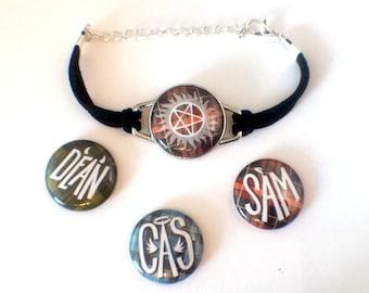 Supernatural Bracelet | Magnetic Bracelet with 12 Designs | Sam & Dean Winchester | Castiel | Supernatural Symbols | SPN Jewelry