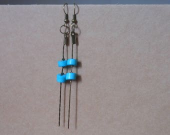 dangle earring with chain and turquoise beads