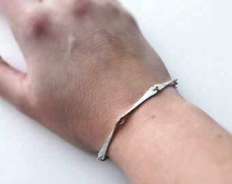Geometric simple sterling silver bracelet. Modern elegant silver bracelet. Scandinavian minimalist jewelry design. Jewelry gift for her.