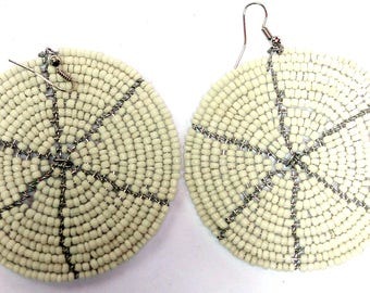 Beaded Earrings, Beaded Hoop Earrings, Handmade Beaded Earrings, White African Earrings, Seed Bead Earrings, Medallion Earrings, Earrings