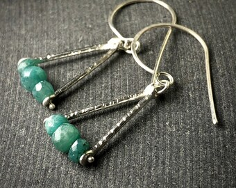 sterling silver briolette emerald trapeze triangle dangle hook earrings