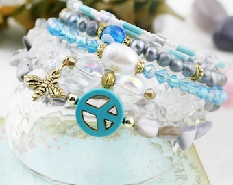 Cotton Melody 5 tiers bangle (MW revised version) - howlite, quartz and freshwater pearl