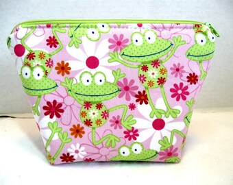 Frogs Cosmetic Pouch - Pink Lime Green - Flat Bottom Make Up Bag - Cute Frogs Zip Pouch