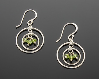 Handmade Sterling Silver Orbits I Earrings with Natural Peridot