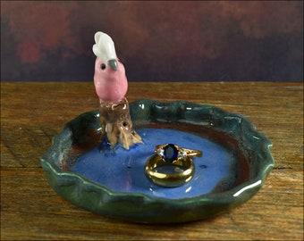 Hand crafted ceramic Galah on trinket dish or pin dish ooak jewellery dish ring dish or teaspoon dish keys pink cockatoo  dish
