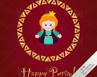 Jewish holiday card etsy jewish holiday of purim greeting card with esther happy purim m4hsunfo