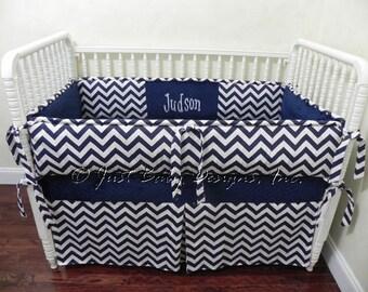 Custom Baby Bedding Set Judson - Boy Baby Bedding, Navy Crib Bedding, Navy Chevron Crib Bedding