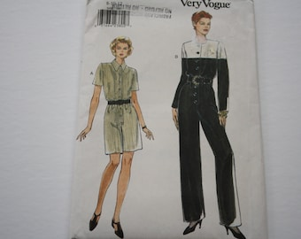 Women's Jumpsuit Pattern sewing pattern, UNCUT Very Easy Very Vogue 9499, loose fitting, straight or wide leg jumpsuit elastic waist