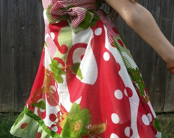 Toddler and Little Girls Lined Sleeveless Sari Silk Chiffon Dress - Red and Green - Mother Daughter Matching - Maria 3084
