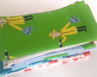 Kids Cloth Napkin Set of 5 // Fisherman & Friends // Lunchbox Napkins // Handkerchief // Party Favor // Stocking Stuffer // Gift for Kids