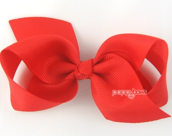 Girls Hair Bow - bright red hair bow - Loopy Bows - large hair bows - big hair bows - bows for girls - toddler hairbow 3.5 inch bows