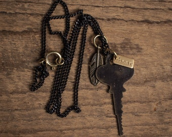 Antique Key Necklace, Men's Key Necklace, Key + Feather Necklace, Men's Costume Jewelry, Men's Necklaces