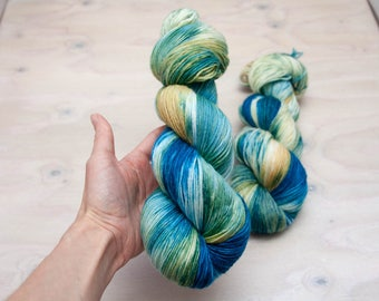 Hand dyed yarn - Superwash merino, nylon, sock yarn, hand dyed sock yarn, speckles, blue, yellow, green