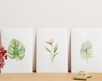 Watercolor Botanical Print Pack, Pack of 3 Tropical Leaf Art, Tropical Plant Print, Tropical Artwork, Tropical Leaf Decor