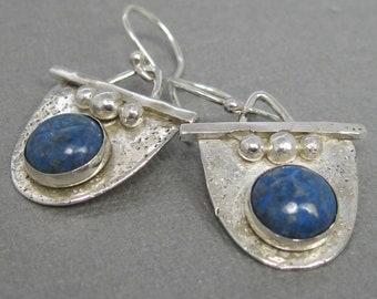 Sterling Silver Handmade Denim Lapis Drop Earrings, Artisan Handcrafted Sterling Silver Earrings by Liz Blanchflower