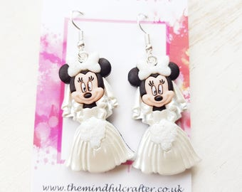 Minnie mouse earrings minnie mouse wedding earrings bride earrings Disney Wedding earrings Disney bride jewelry Disney jewellery minnie