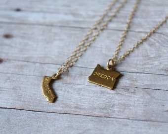 State Necklace, 14k Gold Filled Chain, Gold Necklace, Gold State Necklace