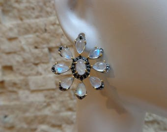 Posted Rainbow Moonstone and Black Spinel earrings in Sterling Silver