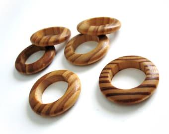 One dollar SALE Wood Beads Rings, Rondelle, No Hole, BurlyWood, 28mm in diameter - Set of 6