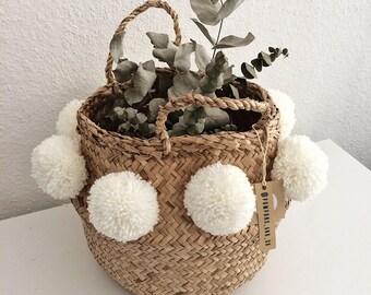 Thai basket with 8 white PomPoms
