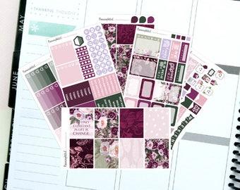 "Floral/Purple/Autumn ""Daphne"" Themed Planner Stickers for Erin Condren, Kikki K, Filofax, Happy Planner, Websters Pages"