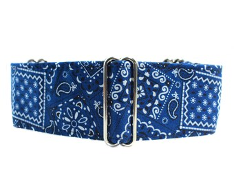 Blue Martingale Collar, 2 inch Martingale Collar, Bandana Martingale Collar, Blue Bandana Dog Collar, Blue Dog Collar, Large Dog Collar