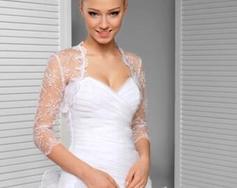 Lace Bridal Cover up - 3/4 Sleeve Lace Wedding Jacket