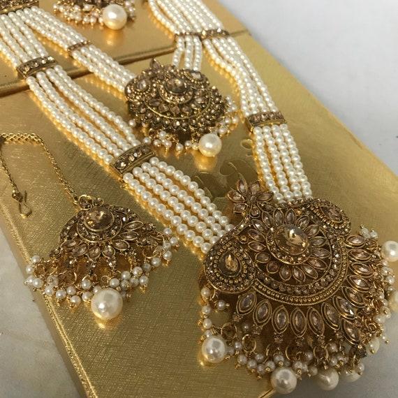 Fari Gold & pearl zirconia long haar Necklace Earring and tikka set