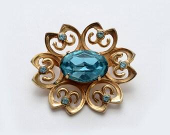 Vintage CORO Costume Jewelry Light Blue Rhinestones Flower Brooch