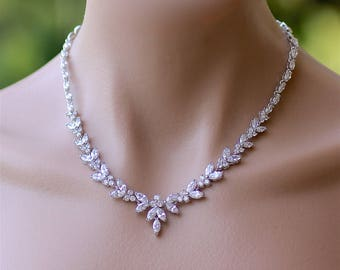 Crystal Necklace, Crystal Bridal Necklace, Crystal Wedding Necklace,DENISE