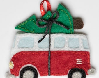 Volkswagen bus with christmas tree ornament- pdf pattern