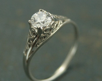 14K White Gold Vintage Style Filigree Engagement Ring--Cinderella--Moissanite, White Topaz, White Sapphire, or CZ--Antique Style Ring