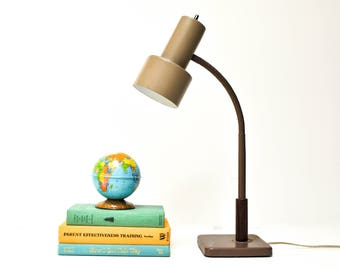 Vintage Metal and Wood Goose Neck Desk Lamp